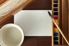 Vernice dell'acquerello dell'annata con il panno, acqua, spazzola. Fotografia Stock