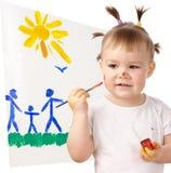 Vernice della bambina sulla sua guancica Fotografia Stock