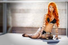 Vernice di carrozzeria femminile della tigre, capelli di rosso della donna Immagine Stock Libera da Diritti