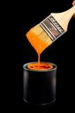 Vernice e spazzola arancioni Fotografia Stock Libera da Diritti