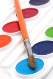 Vernice e spazzola dell'acquerello fotografie stock libere da diritti