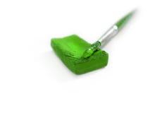 Vernice verde isolata con la spazzola Immagine Stock Libera da Diritti