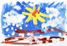 Vernici di colore di acqua dell'illustrazione dei bambini Fotografia Stock