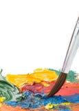 Vernici di colore e della spazzola su bianco immagine stock libera da diritti
