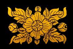 Vernici il disegno dorato di colore di arte tailandese Fotografia Stock Libera da Diritti