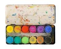 Vernici la gamma di colori isolata su priorità bassa bianca Fotografia Stock