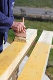 Verniciatura del legno Fotografie Stock Libere da Diritti