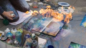 Verniciatura dell'immagine con fuoco Fotografie Stock Libere da Diritti