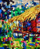 Verniciatura di colori a olio di Straw Hut illustrazione vettoriale