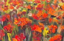 Verniciatura rossa dei fiori dei papaveri Frammento alto vicino di macro illustrazione di stock