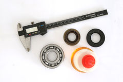Vernier, bearing, Oil Seal and Oil Royalty Free Stock Photography