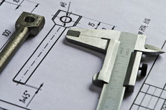 Vernier caliper, detail, drawing- 2 Stock Images