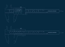 Vernier caliper digital and basic tools blueprint Royalty Free Stock Images