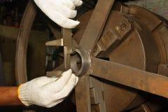 Vernier Caliper and  lathe, turning Stock Photography