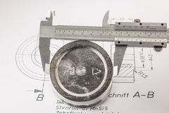Vernier Caliper measure  piston Royalty Free Stock Image