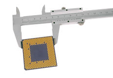 Vernier caliper measures the CPU. On a white background stock photo