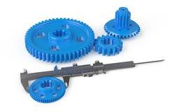 Vernier caliper with plastic gearwheels Royalty Free Stock Photo