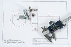 Vernier caliper with screw, nuts and bolts Stock Image