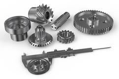 Vernier caliper with steel gearwheels Stock Photo