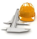 Vernier caliper and yellow hard hat 3d Royalty Free Stock Photography