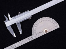 Vernier calipers and protractor Royalty Free Stock Photography