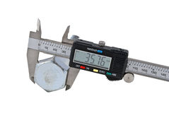 Vernier calipers and screw-bolt Stock Photography
