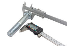 Vernier calipers and screw-bolt Royalty Free Stock Photography