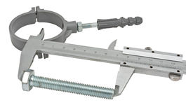 Vernier calipers and screw-bolt Stock Images