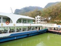 Vernier dial. Sightseeing Boats parked on the dock of Fuchun River near Jiangnan Dragon Gate Blend in Tonglu County, Hangzhou City, Zhejiang Province China Royalty Free Stock Image