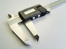 Vernier measuring tool. A set of Vernier calipers for precision measuring Royalty Free Stock Photo