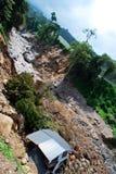 Vernietigd veiligheidsfaciliteiten wegens zware regen en tyfoon royalty-vrije stock foto's
