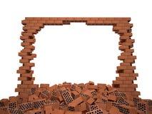 Vernietigde bakstenen muur Stock Afbeelding