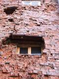 Vernietigde bakstenen muur Stock Foto
