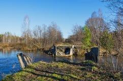 Vernietigde brug Stock Afbeeldingen