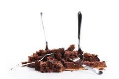 Vernietigde chocoladecake royalty-vrije stock fotografie