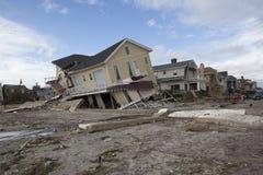 Vernietigde huizen in Verre Rockaway na Hur stock foto