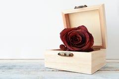 Vernietigde rood nam bloem op een witte houten plank toe stock fotografie