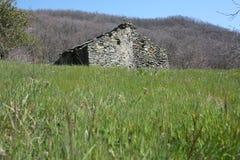 Vernietigde ruïne een oud die huis van stenen wordt gebouwd in een groene opheldering, in het midden van de aard van het park van royalty-vrije stock afbeelding