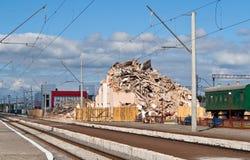 Vernietigde spoorwegterminal Stock Foto's