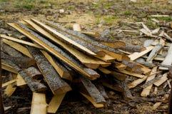 Vernietigde stukken van hout in een molen Royalty-vrije Stock Fotografie