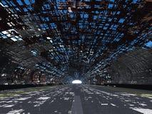 Vernietigde tunnel en asfalt royalty-vrije illustratie