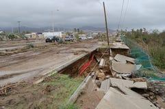Vernietigde weg door orkaan Odile Stock Afbeelding
