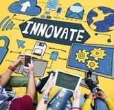 Vernieuw het Concept van het de Verbindingsnetwerk van de Innovatietechnologie stock afbeelding