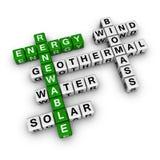 Vernieuwbare energiekruiswoordraadsel Stock Foto