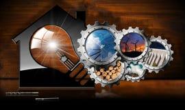 Vernieuwbare Middelen - Huis met gloeilamp Stock Afbeeldingen