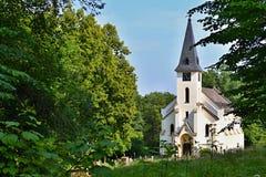Vernieuwde kerk in een bos stock fotografie