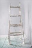 Vernieuwing van een muur in lege ruimte met ladder stock fotografie