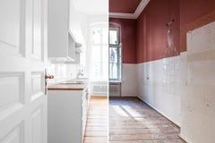 Vernieuwingsconcept - keukenruimte before and after heropfrissing of restauratie stock afbeelding
