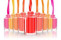 Vernis à ongles Clous Clouez l'art Bouteille de vernis à ongles manucure Manucure d'ongles Flaque de vernis à ongles éclaboussure Images libres de droits