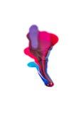 Vernis à ongles coloré renversé sur le fond blanc taches bleues et roses de peinture Image libre de droits